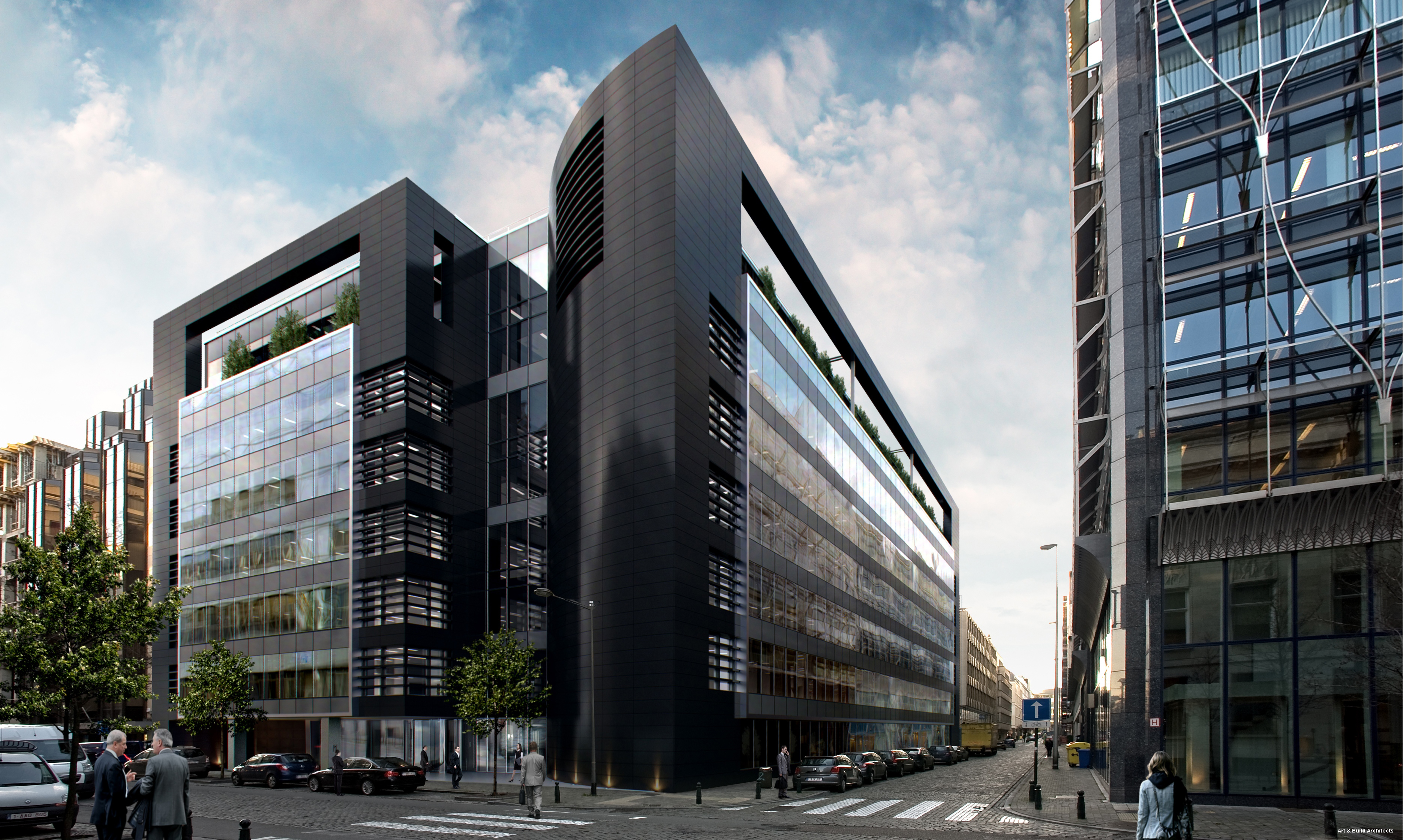 Office building montoyer 15 black pearl tpf for Immeuble bureau design
